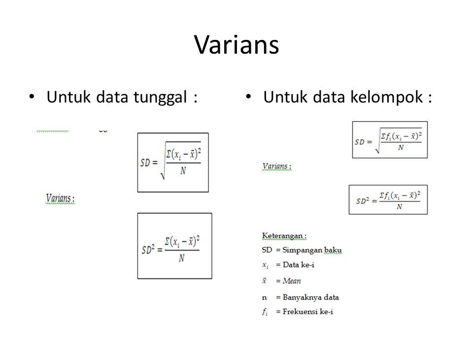 Varians Untuk data tunggal : Untuk data kelompok :
