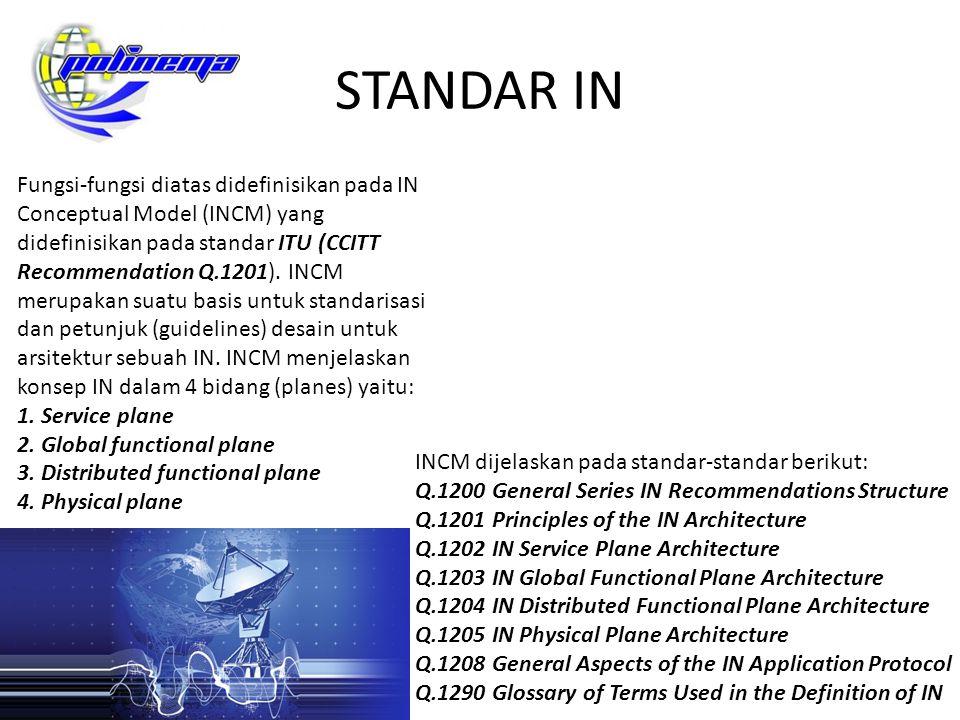 STANDAR IN Fungsi-fungsi diatas didefinisikan pada IN Conceptual Model (INCM) yang didefinisikan pada standar ITU (CCITT Recommendation Q.1201). INCM
