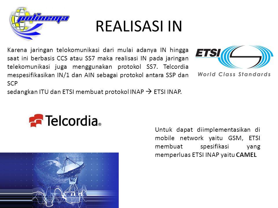 REALISASI IN Karena jaringan telokomunikasi dari mulai adanya IN hingga saat ini berbasis CCS atau SS7 maka realisasi IN pada jaringan telekomunikasi