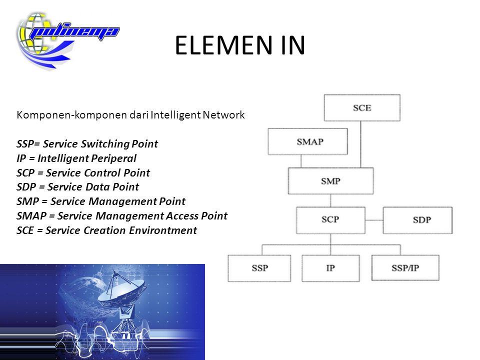 ELEMEN IN Dalam jaringan sentral GSM atau CDMA, IN biasanya diasosiasikan dengan sebuah elemen yang mengatur jalannya end user service seperti call control, SMS, GPRS, USSD dan lain-lain Elemen tersebut biasanya adalah sebuah mesin (server) yang berdiri sendiri yang dihubungkan dengan MSC (Mobile Switching Center).