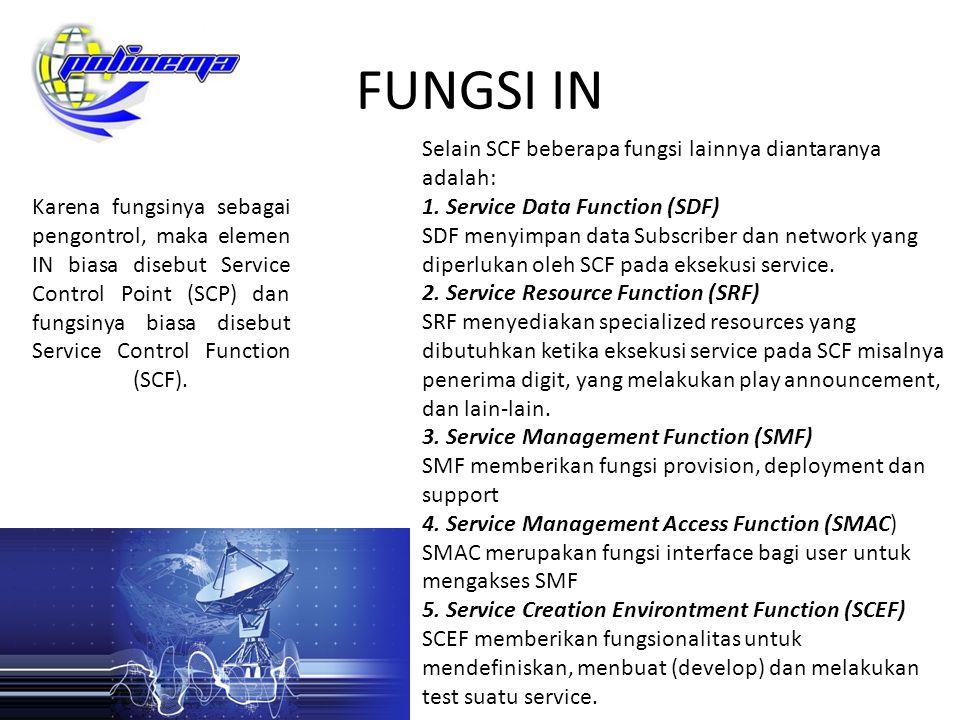 FUNGSI IN Karena fungsinya sebagai pengontrol, maka elemen IN biasa disebut Service Control Point (SCP) dan fungsinya biasa disebut Service Control Fu