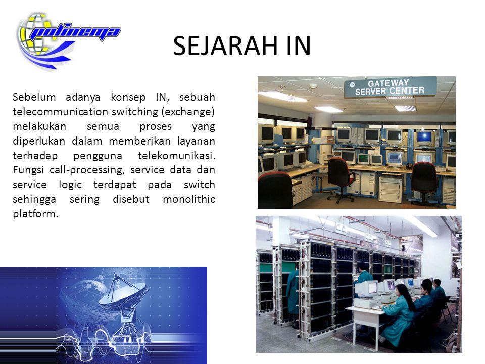 MODEL KONSEP IN Dalam jaringan telekomunikasi yang berbasis CCS, switching sering disebut sebagai SSP (Service Switching Point) dan elemen IN disebut SCP (Service Control Point).
