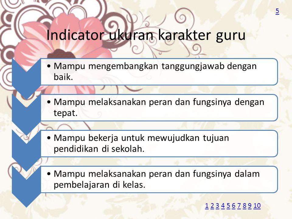 Indicator ukuran karakter guru Mampu mengembangkan tanggungjawab dengan baik. Mampu melaksanakan peran dan fungsinya dengan tepat. Mampu bekerja untuk
