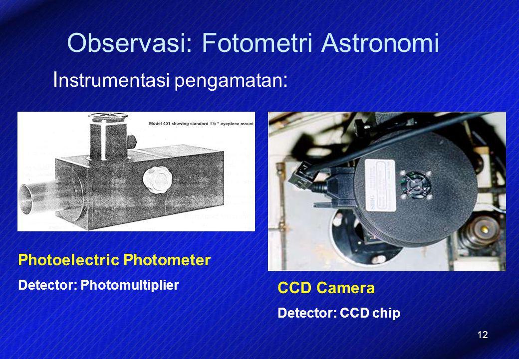 12 Observasi: Fotometri Astronomi I nstrumentasi pengamatan : Photoelectric Photometer Detector: Photomultiplier CCD Camera Detector: CCD chip