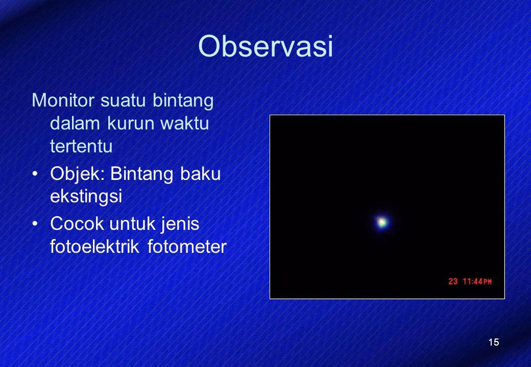15 Observasi Monitor suatu bintang dalam kurun waktu tertentu Objek: Bintang baku ekstingsi Cocok untuk jenis fotoelektrik fotometer
