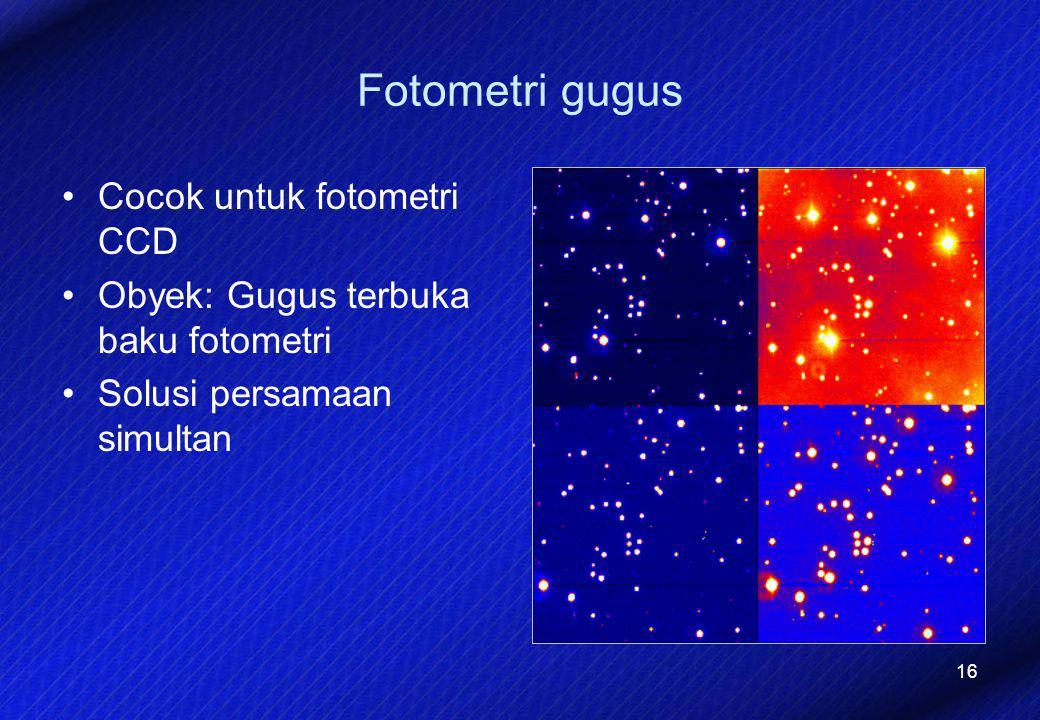 16 Fotometri gugus Cocok untuk fotometri CCD Obyek: Gugus terbuka baku fotometri Solusi persamaan simultan