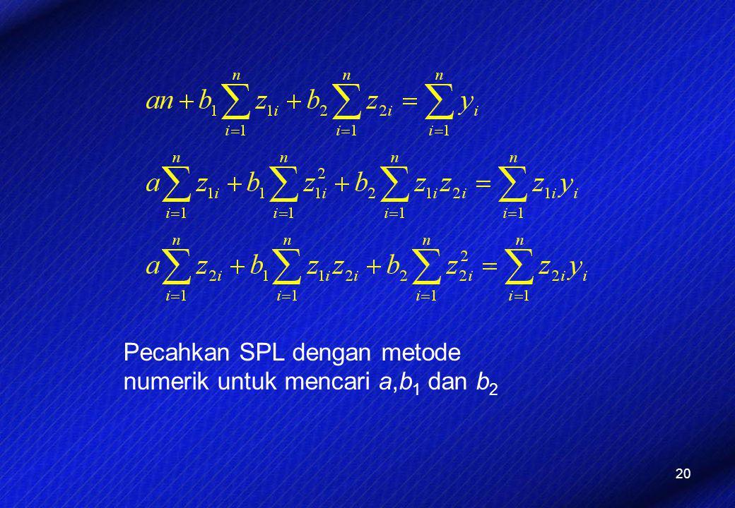 20 Pecahkan SPL dengan metode numerik untuk mencari a,b 1 dan b 2