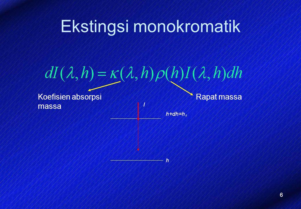 6 Ekstingsi monokromatik I h h+dh=h 1 Koefisien absorpsi massa Rapat massa
