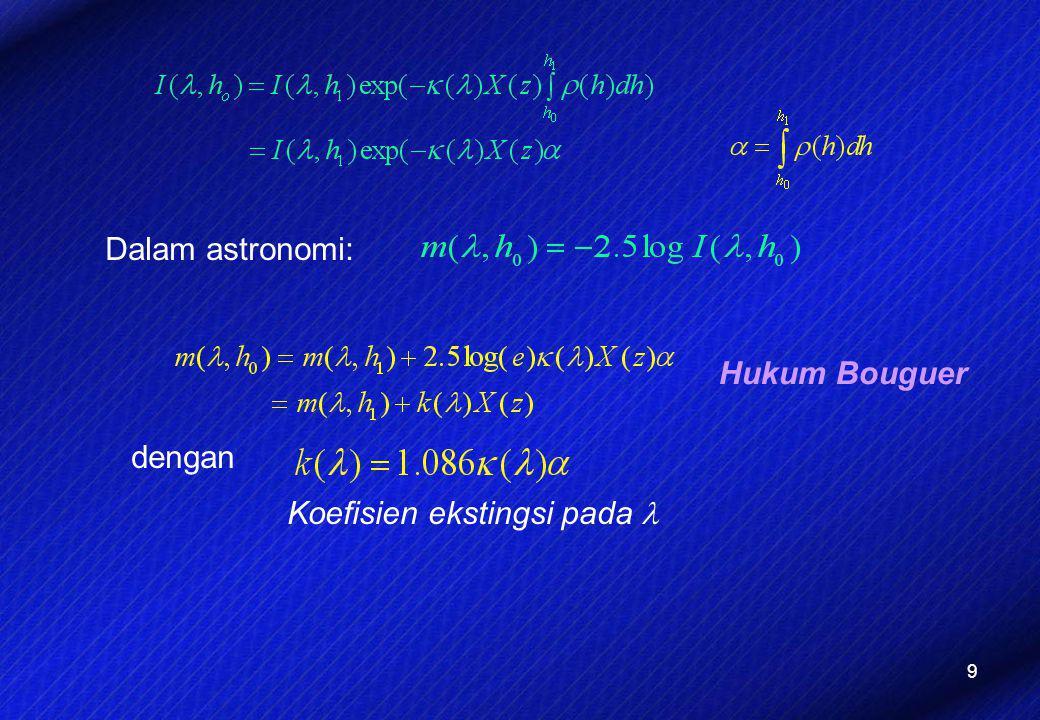9 Dalam astronomi: dengan Hukum Bouguer Koefisien ekstingsi pada