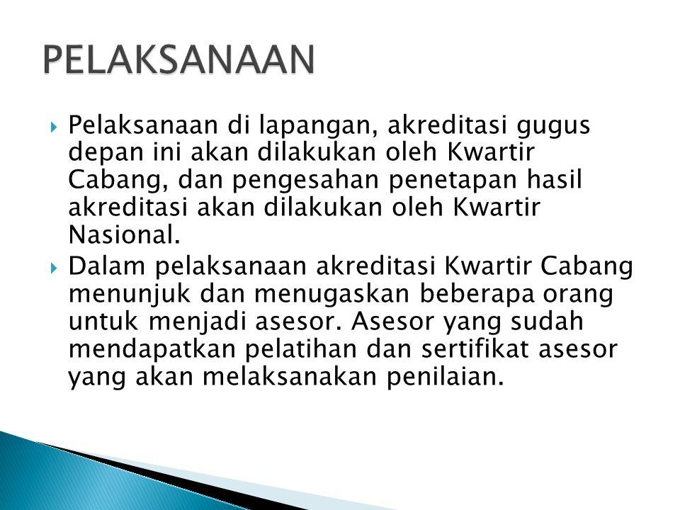  Pelaksanaan di lapangan, akreditasi gugus depan ini akan dilakukan oleh Kwartir Cabang, dan pengesahan penetapan hasil akreditasi akan dilakukan ole