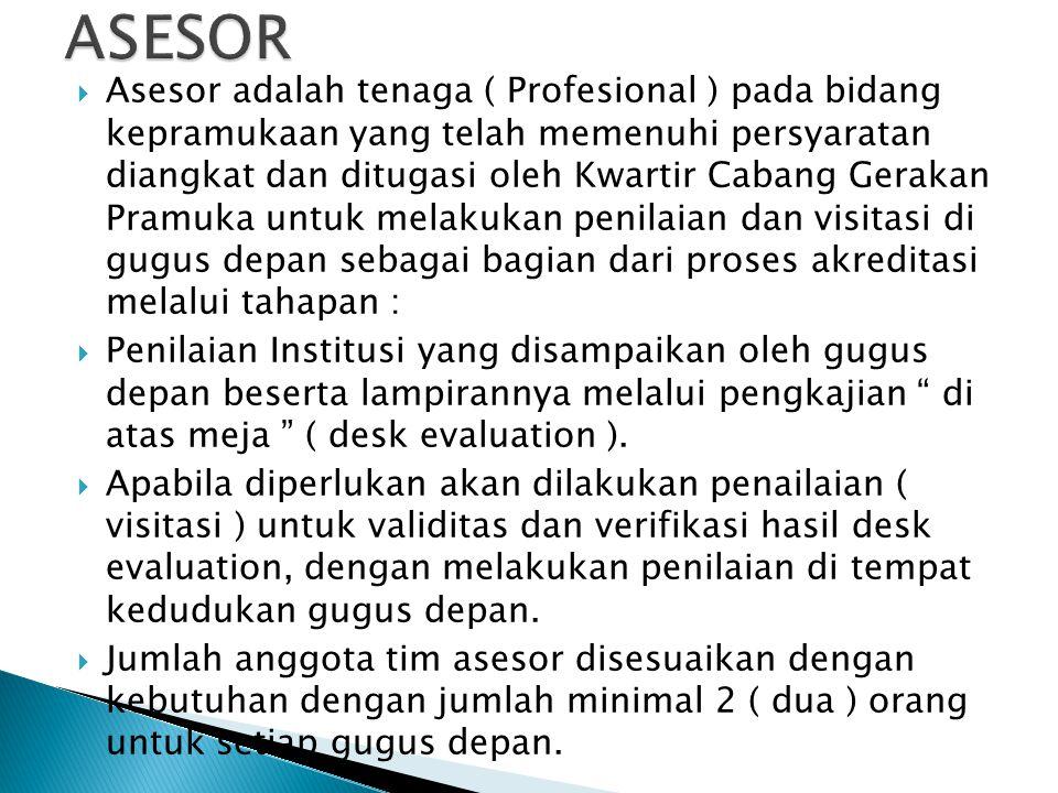  Asesor adalah tenaga ( Profesional ) pada bidang kepramukaan yang telah memenuhi persyaratan diangkat dan ditugasi oleh Kwartir Cabang Gerakan Pramu
