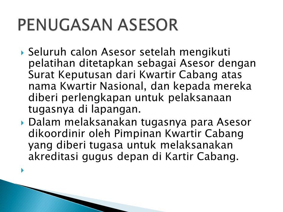  Seluruh calon Asesor setelah mengikuti pelatihan ditetapkan sebagai Asesor dengan Surat Keputusan dari Kwartir Cabang atas nama Kwartir Nasional, da