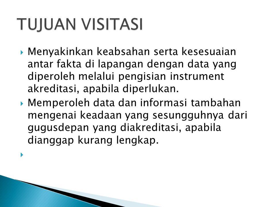  Menyakinkan keabsahan serta kesesuaian antar fakta di lapangan dengan data yang diperoleh melalui pengisian instrument akreditasi, apabila diperluka