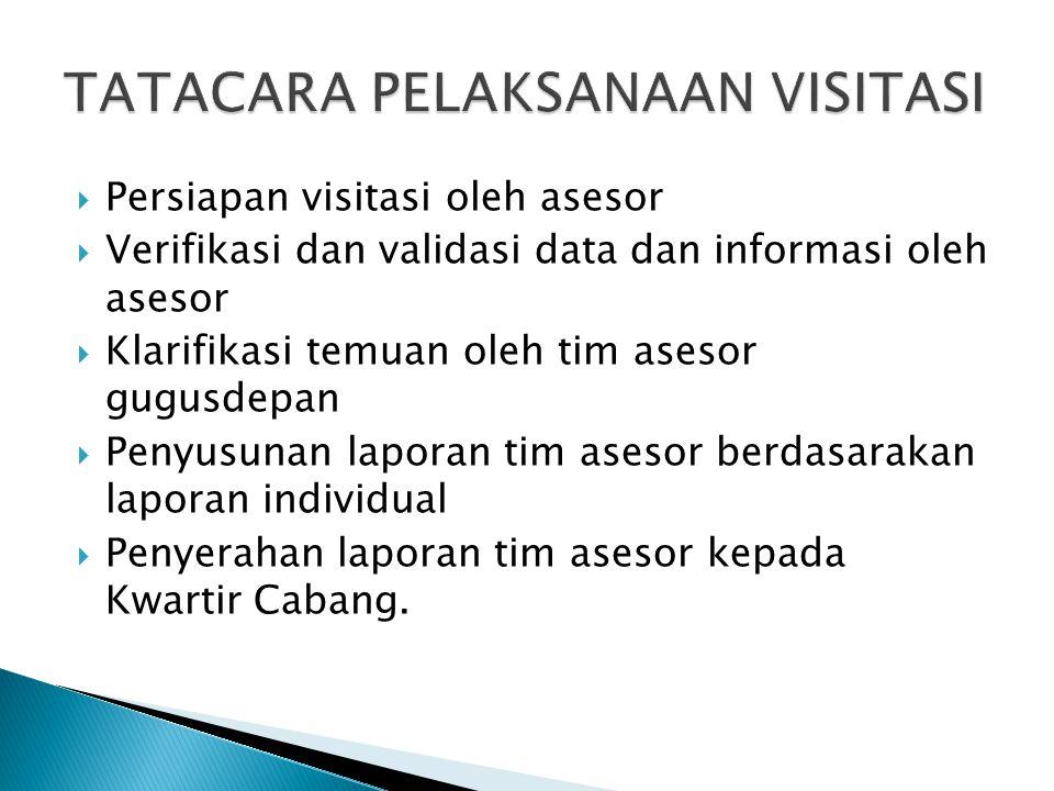  Persiapan visitasi oleh asesor  Verifikasi dan validasi data dan informasi oleh asesor  Klarifikasi temuan oleh tim asesor gugusdepan  Penyusunan