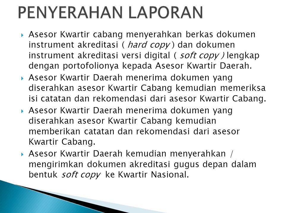  Asesor Kwartir cabang menyerahkan berkas dokumen instrument akreditasi ( hard copy ) dan dokumen instrument akreditasi versi digital ( soft copy ) l