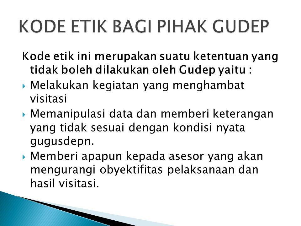 Kode etik ini merupakan suatu ketentuan yang tidak boleh dilakukan oleh Gudep yaitu :  Melakukan kegiatan yang menghambat visitasi  Memanipulasi dat