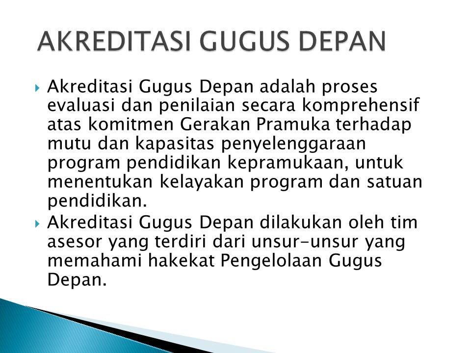  Akreditasi Gugus Depan adalah proses evaluasi dan penilaian secara komprehensif atas komitmen Gerakan Pramuka terhadap mutu dan kapasitas penyelengg
