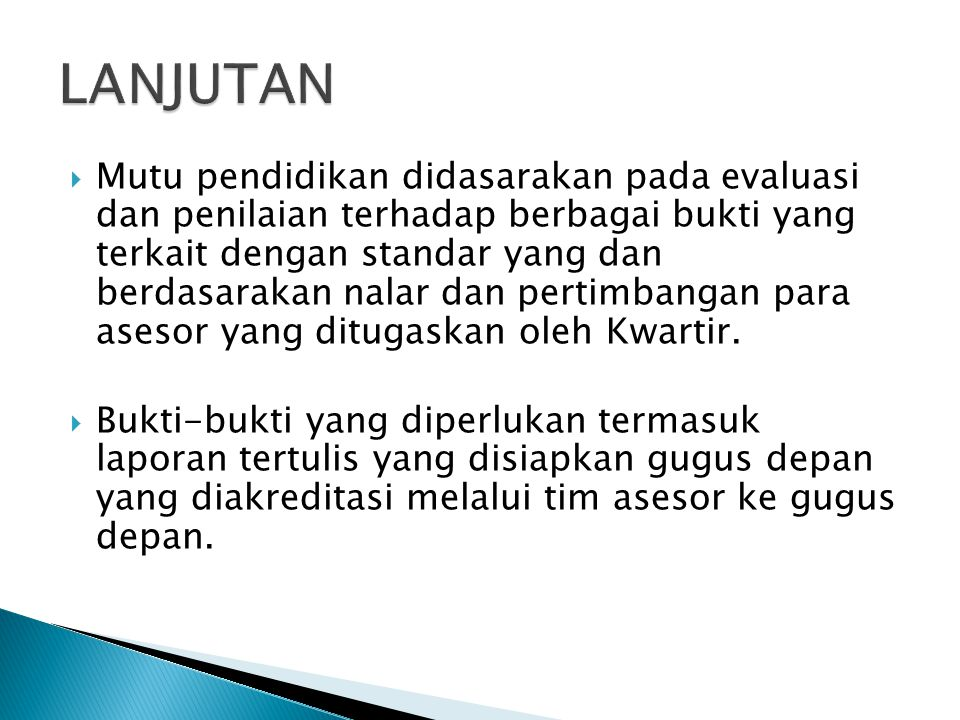  Para asesor yang sudah ditentukan dan ditetapkan oleh Kwartir Cabang dan Kwartir Daerah, dilatih mengenai bagaimana cara melaksanakan akreditasi gugus depan selama 2 ( dua ) hari di tingkat Kwartir Nasiional yang diselenggarakan oleh Pusdiklatnas Kwartir Nasional dan mendapatkan sertifikat sebagai ASESOR.
