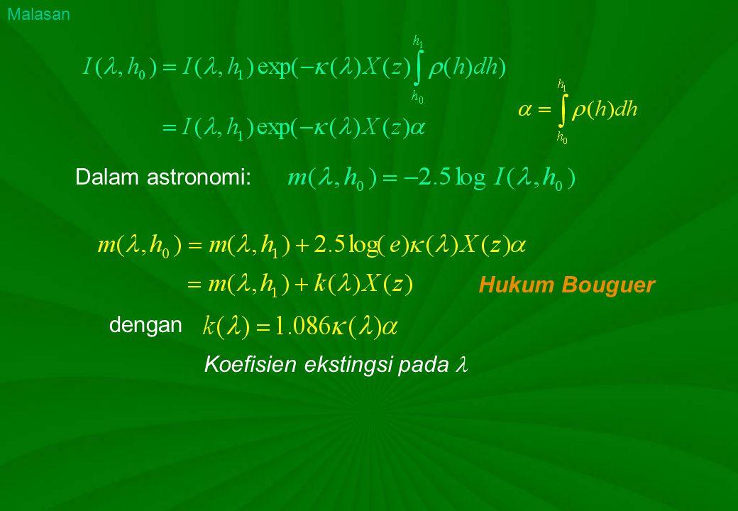 Dalam astronomi: Hukum Bouguer dengan Koefisien ekstingsi pada Malasan
