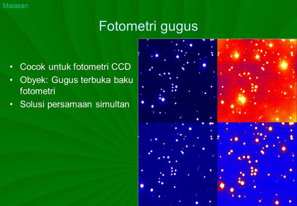 Fotometri gugus Cocok untuk fotometri CCD Obyek: Gugus terbuka baku fotometri Solusi persamaan simultan Malasan