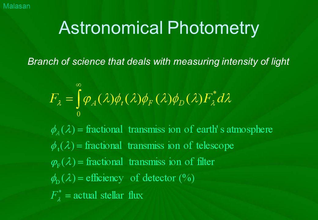 Definitions Etendue (throughput) Transported power Monochromatic flux Reduced brightness Luminosity Polarisation Magnitudes Color indices Standard Photometry Bradt 2004