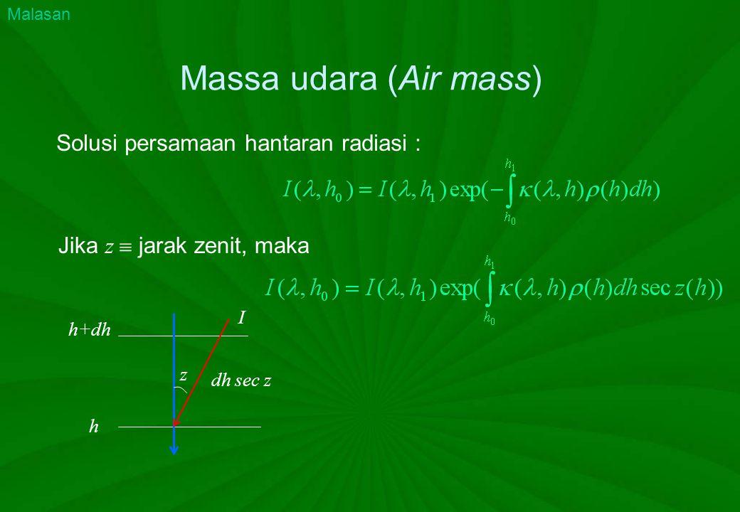 Massa udara (Air mass) Solusi persamaan hantaran radiasi : h+dh h I dh sec z z Malasan Jika z  jarak zenit, maka