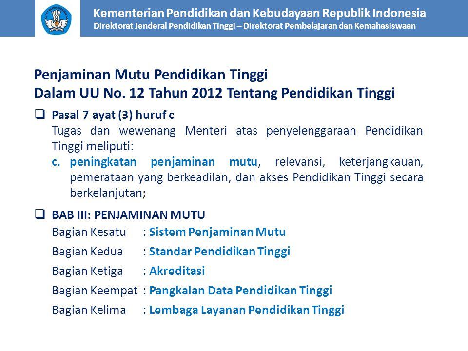 Penjaminan Mutu Pendidikan Tinggi Dalam UU No. 12 Tahun 2012 Tentang Pendidikan Tinggi  Pasal 7 ayat (3) huruf c Tugas dan wewenang Menteri atas peny
