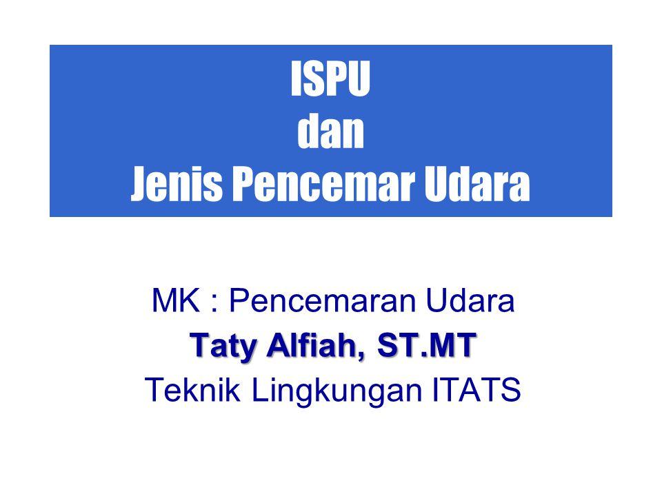 ISPU dan Jenis Pencemar Udara MK : Pencemaran Udara Taty Alfiah, ST.MT Teknik Lingkungan ITATS
