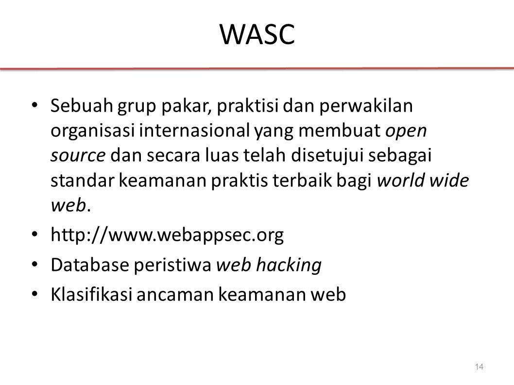 WASC Sebuah grup pakar, praktisi dan perwakilan organisasi internasional yang membuat open source dan secara luas telah disetujui sebagai standar keamanan praktis terbaik bagi world wide web.