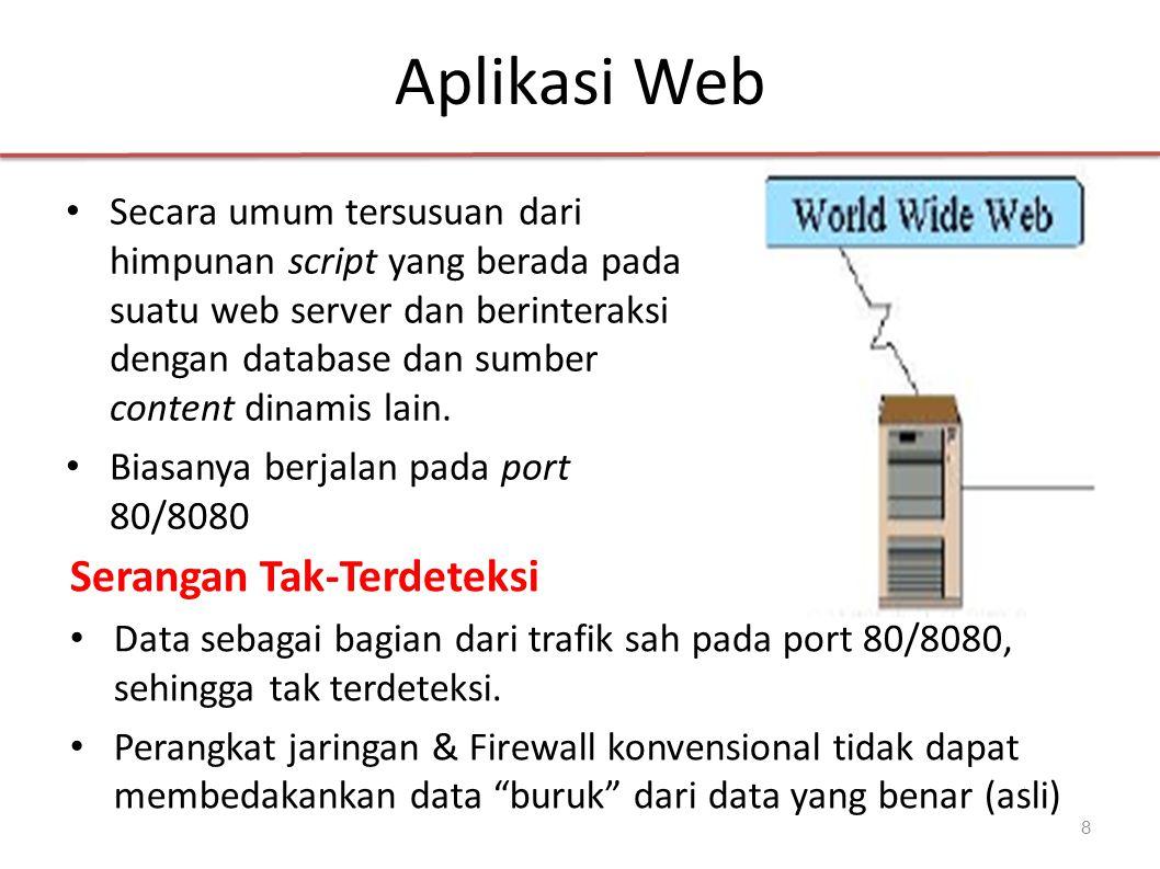 Aplikasi Web 8 Secara umum tersusuan dari himpunan script yang berada pada suatu web server dan berinteraksi dengan database dan sumber content dinamis lain.