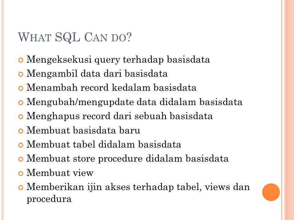 SQL S TATEMENT SELECT * FROM Persons Ket: Perintah diatas merupakan query untuk menampilkan semua data dari tabel Persons Nama tabel