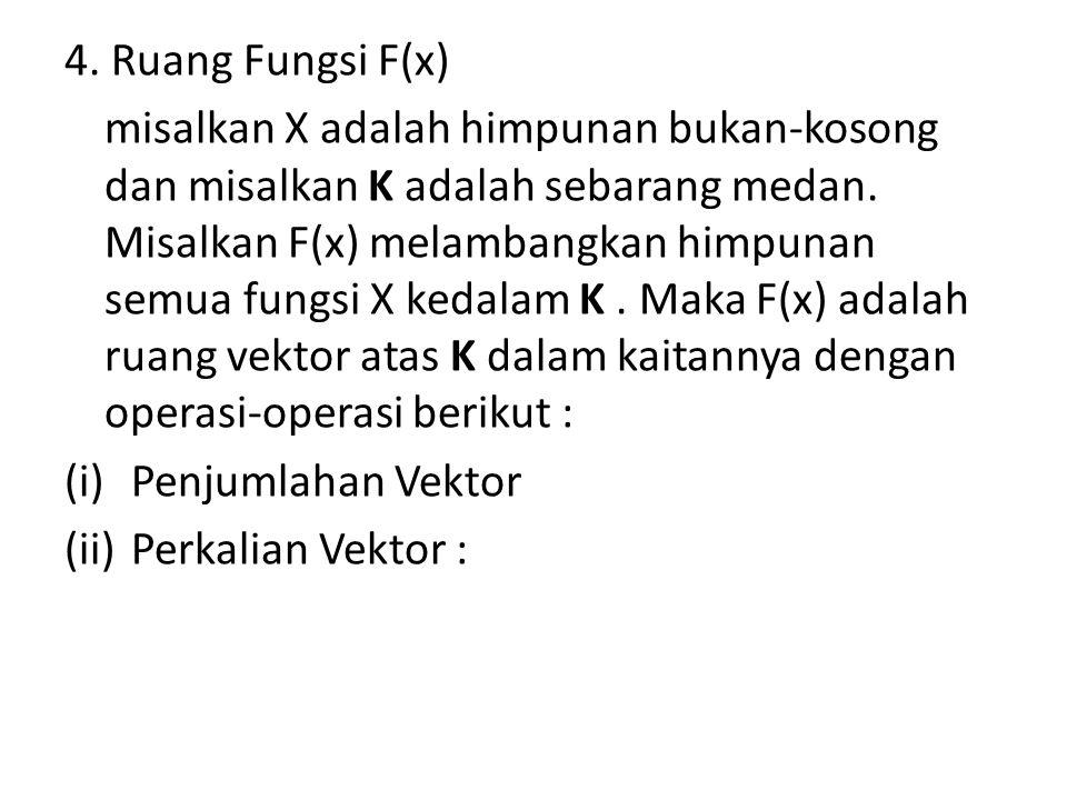 (i) Penjumlahan Vektor Jumlah dari dua fungsi f dan g dalam F(X) adalah fungsi f + g dalam F(X) yang didefinisikan sebagai : – (f+g)(x) = f(x) + g(x)  x  X
