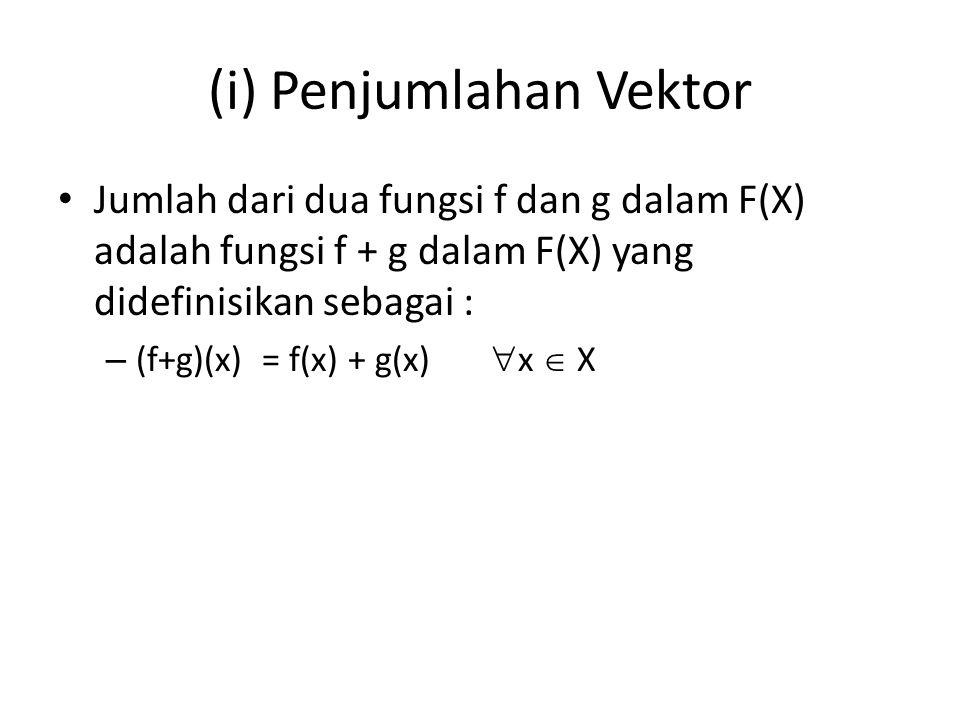 (ii) Perkalian Skalar Hasil kali dari skalar k  K dan fungsi f dalam F(X) adalah fungsi kf dalam F(X) yang didefinisikan sebagai : (kf)(x) = kf(x)  x  X Vektor nol dalam F(X) adalah fungsi nol 0, yang memetakan setiap x  X ke dalam elemen nol 0  K, yaitu 0(x) = 0  x  X Selain itu untuk sebarang fungsi f dalam F(X), fungsi –f dan F(X) yang didefinisikan sebagai : (-f)(x) = - f(x)  x  X adalah negatif dari fungsi f.