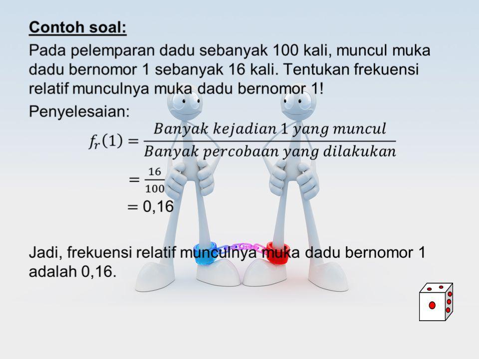 Frekuensi relatif (nisbi) muncul kejadian A dirumuskan sebagai berikut Frekuensi relatif terkadang ditulis dalam bentuk persentase yaitu: 3.