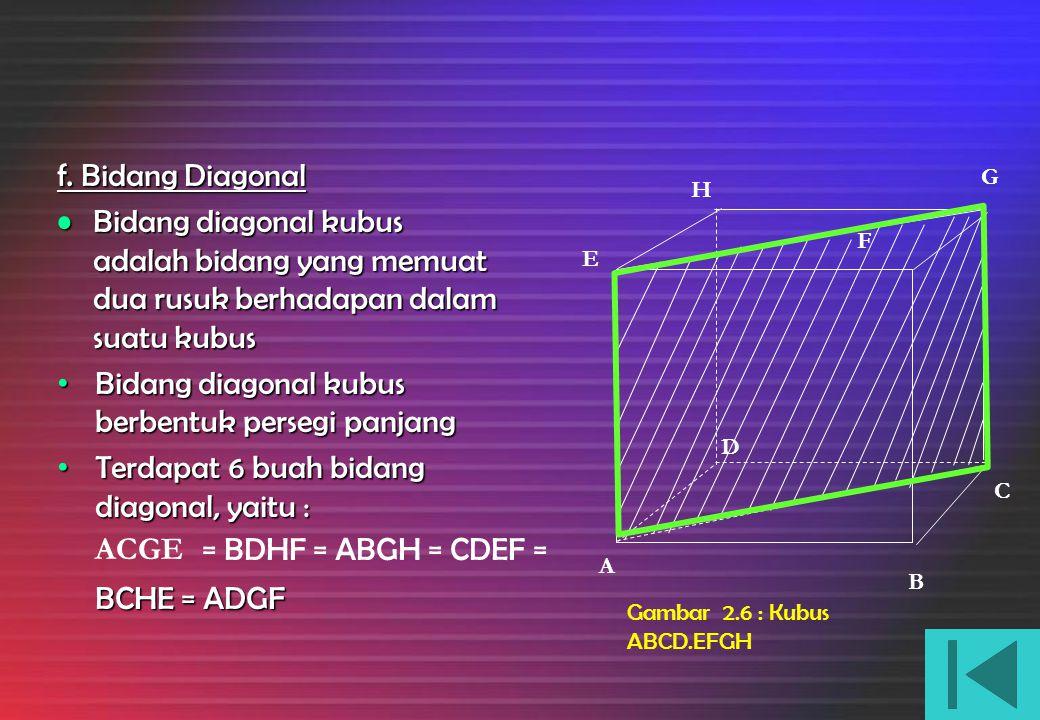 Gambar 2.5 : Kubus ABCD.EFGH e. Diagonal Ruang Diagonal ruang sebuah kubus adalah ruang garis yang menghubungkan dua titi sudut berhadapan dalam kubus