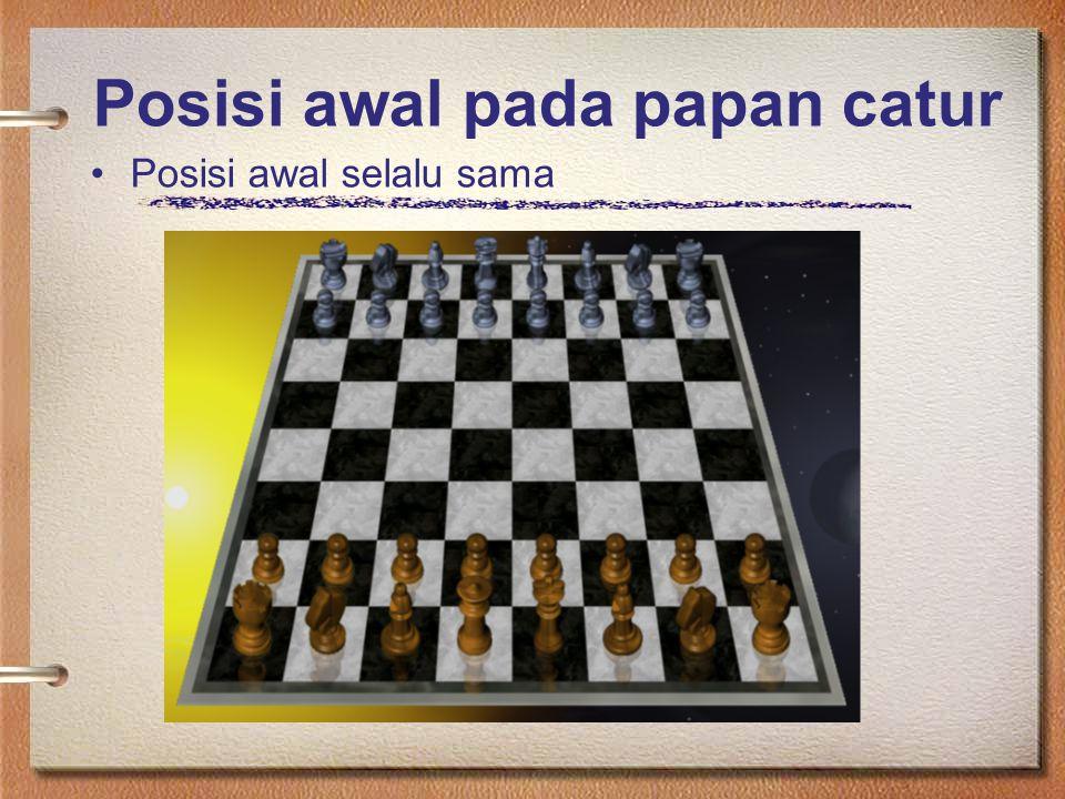 Posisi awal pada papan catur Posisi awal selalu sama