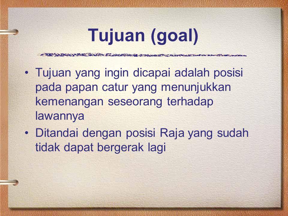 Tujuan (goal) Tujuan yang ingin dicapai adalah posisi pada papan catur yang menunjukkan kemenangan seseorang terhadap lawannya Ditandai dengan posisi Raja yang sudah tidak dapat bergerak lagi