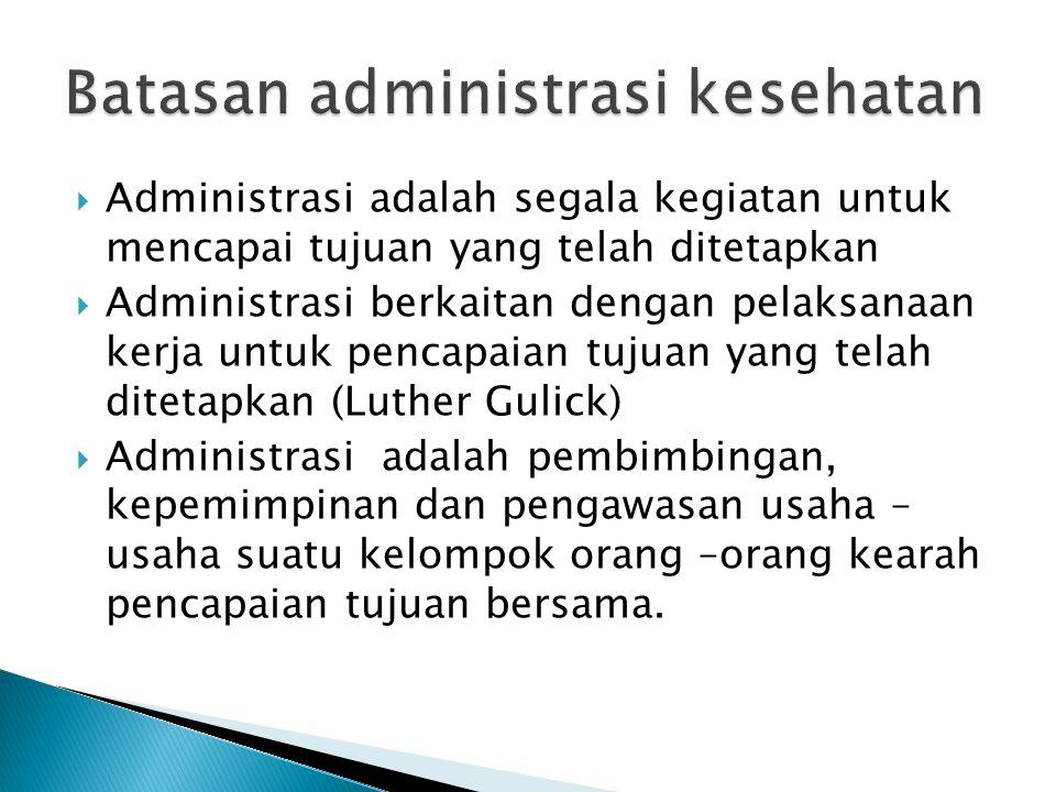  Administrasi adalah segala kegiatan untuk mencapai tujuan yang telah ditetapkan  Administrasi berkaitan dengan pelaksanaan kerja untuk pencapaian tujuan yang telah ditetapkan (Luther Gulick)  Administrasi adalah pembimbingan, kepemimpinan dan pengawasan usaha – usaha suatu kelompok orang –orang kearah pencapaian tujuan bersama.