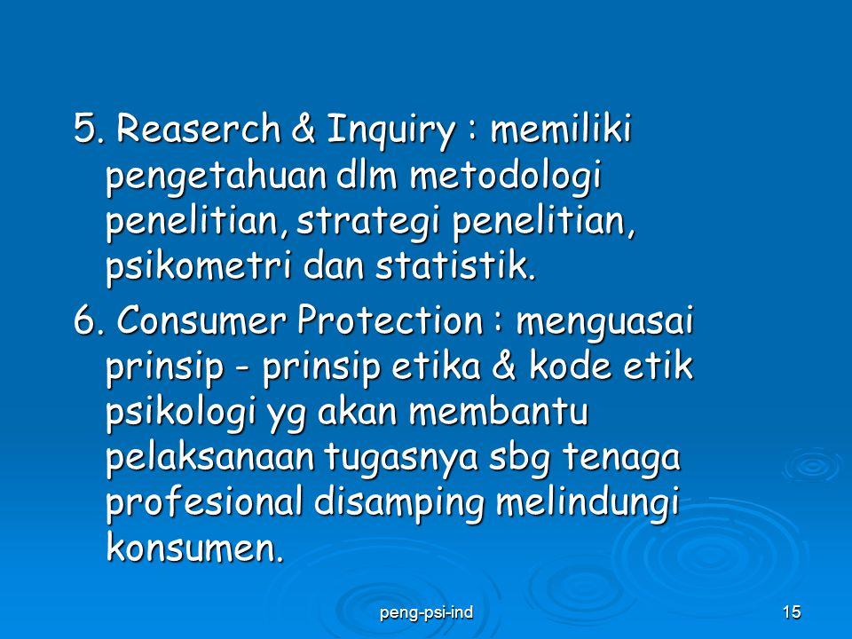 5. Reaserch & Inquiry : memiliki pengetahuan dlm metodologi penelitian, strategi penelitian, psikometri dan statistik. 6. Consumer Protection : mengua