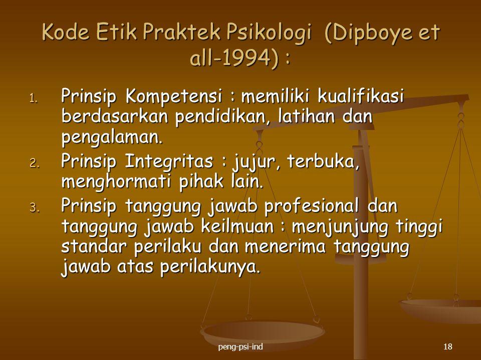 Kode Etik Praktek Psikologi (Dipboye et all-1994) : 1. Prinsip Kompetensi : memiliki kualifikasi berdasarkan pendidikan, latihan dan pengalaman. 2. Pr