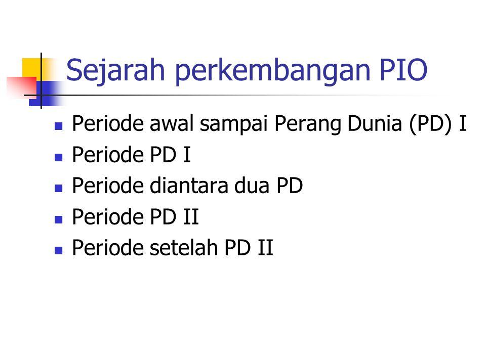 Sejarah perkembangan PIO Periode awal sampai Perang Dunia (PD) I Periode PD I Periode diantara dua PD Periode PD II Periode setelah PD II