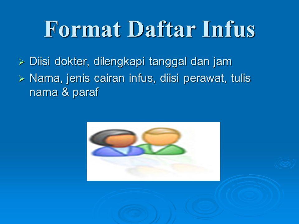 Format Daftar Infus  Diisi dokter, dilengkapi tanggal dan jam  Nama, jenis cairan infus, diisi perawat, tulis nama & paraf