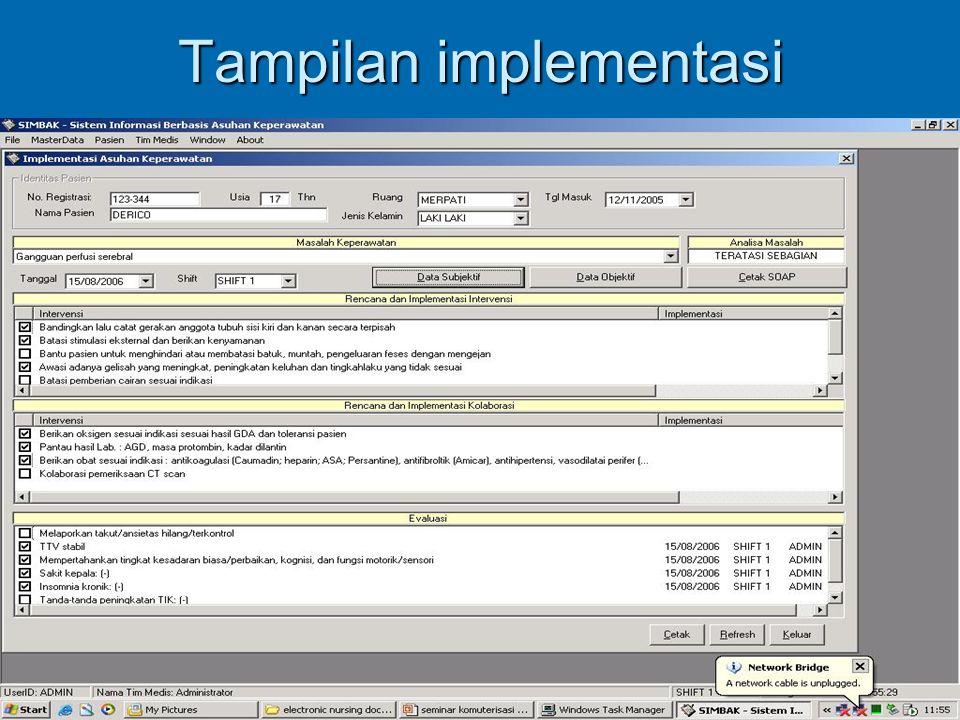 Tampilan implementasi