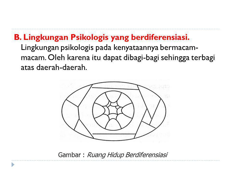 B.Lingkungan Psikologis yang berdiferensiasi.