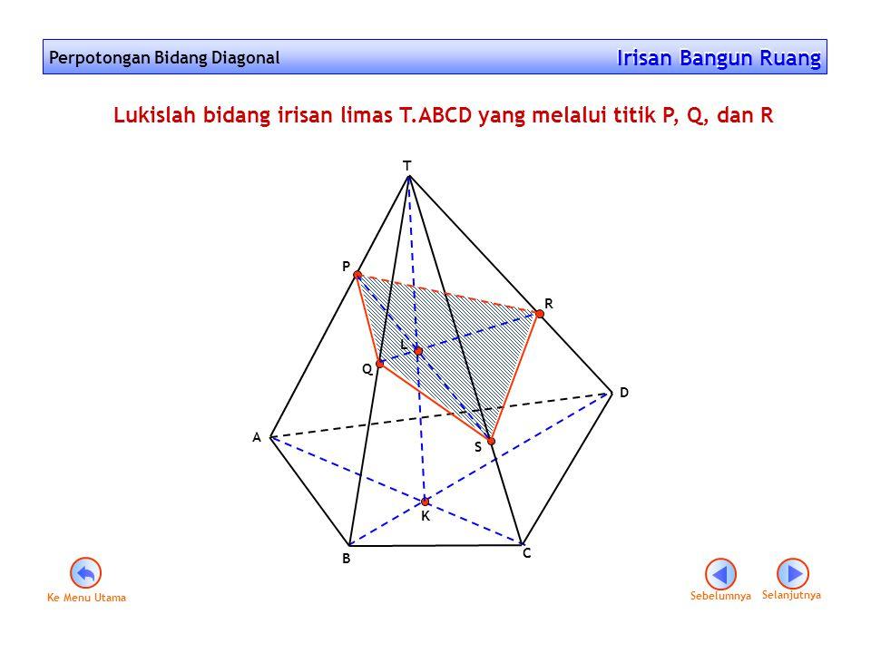 Perpotongan Bidang Diagonal Irisan Bangun Ruang Irisan Bangun Ruang B C D A T R Q P S Lukislah bidang irisan limas T.ABCD yang melalui titik P, Q, dan