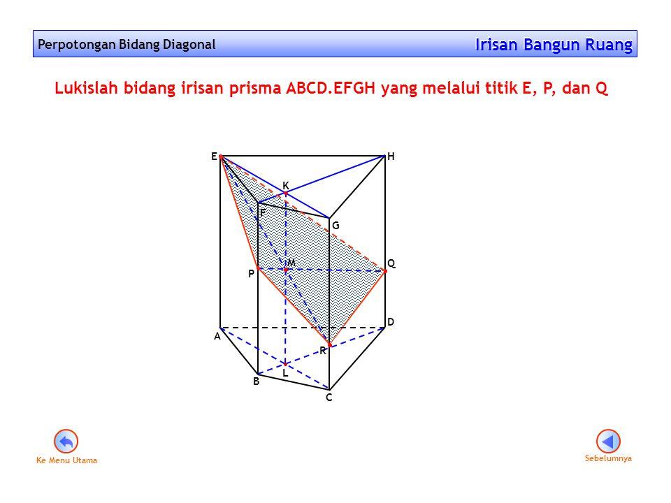 Perpotongan Bidang Diagonal Irisan Bangun Ruang Irisan Bangun Ruang Sebelumnya F G A E D B C H Q P Lukislah bidang irisan prisma ABCD.EFGH yang melalu