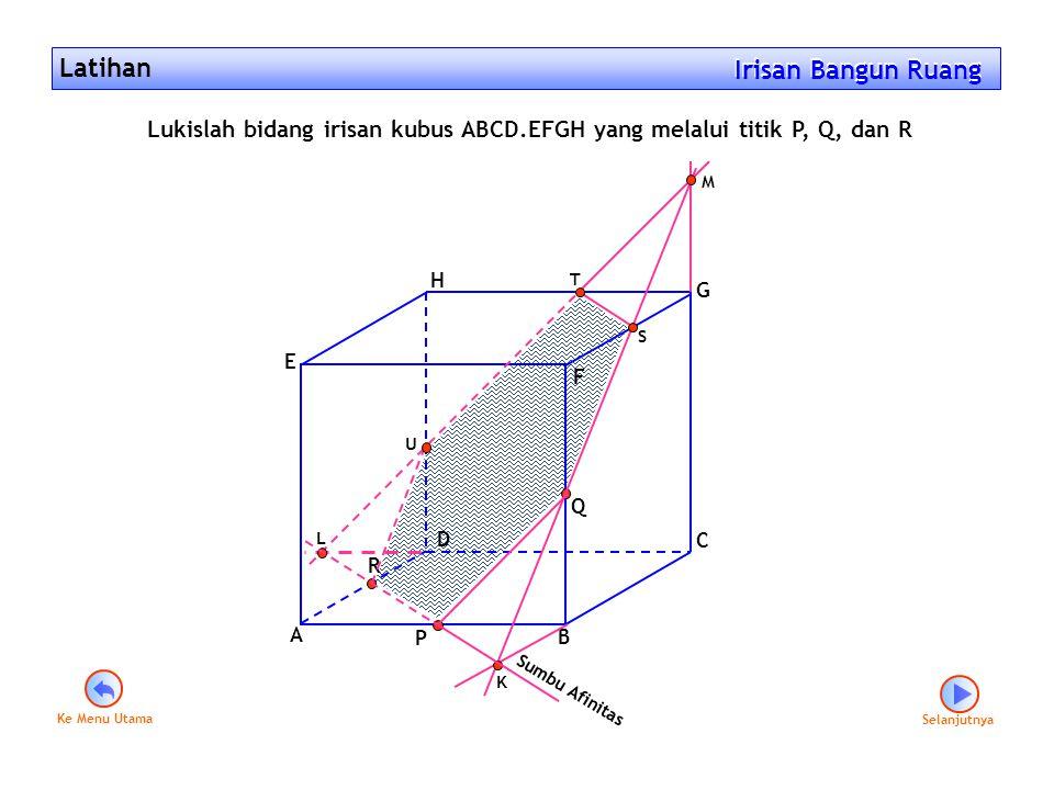 Latihan Irisan Bangun Ruang Irisan Bangun Ruang Selanjutnya A B C D E F G H P Q R K L M S T U Lukislah bidang irisan kubus ABCD.EFGH yang melalui titi
