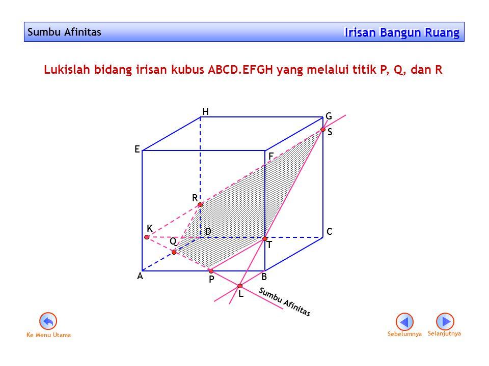 Sumbu Afinitas Irisan Bangun Ruang Irisan Bangun Ruang Sebelumnya Selanjutnya F D A B C E G H P Q R Lukislah bidang irisan kubus ABCD.EFGH yang melalu