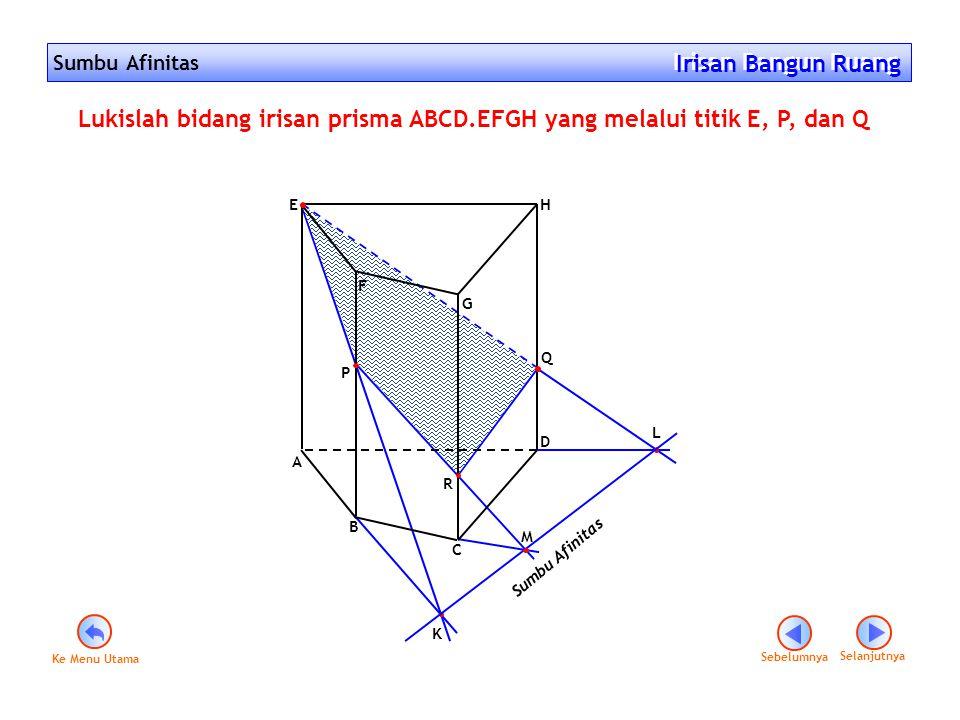 Sumbu Afinitas Irisan Bangun Ruang Irisan Bangun Ruang Sebelumnya Selanjutnya K L Sumbu Afinitas M F G A E D B C H Q P Lukislah bidang irisan prisma A