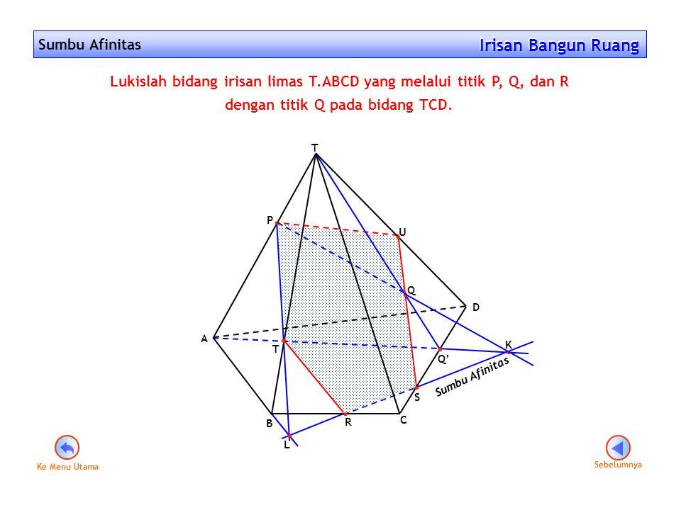 Sumbu Afinitas Irisan Bangun Ruang Irisan Bangun Ruang Sebelumnya Lukislah bidang irisan limas T.ABCD yang melalui titik P, Q, dan R dengan titik Q pa